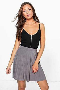Evah Pleated Slinky Mini Skirt