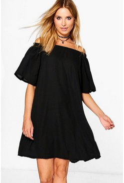 Dariela Satin Off The Shoulder Shift Dress
