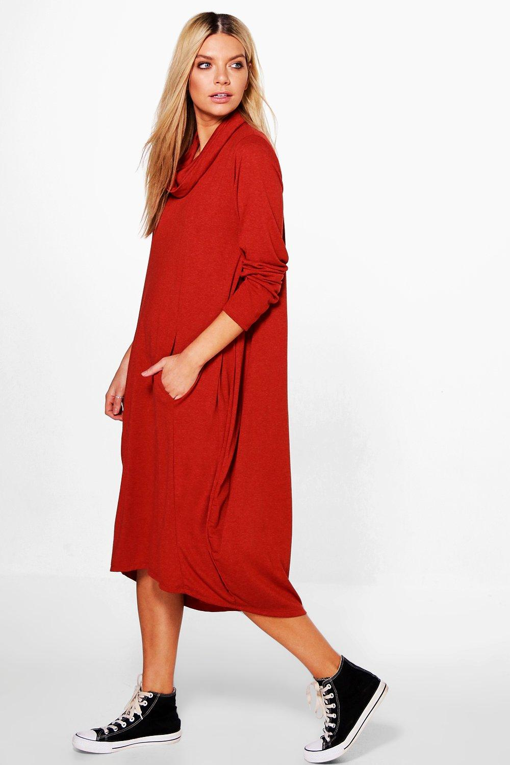 Elizabella Roll Neck Midi Dress