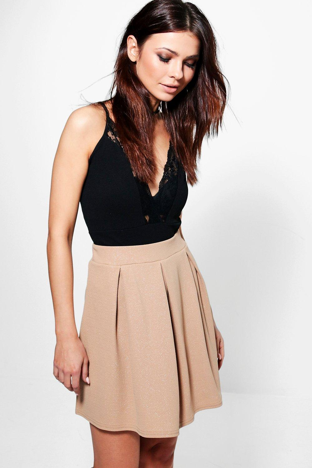 Ama Metallic Crepe Box Pleat Skater Skirt