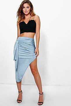Azure Rouched Tie Side Asymetric Midi Skirt