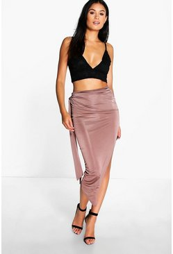 Baha Tie Side Asymetric Midi Skirt