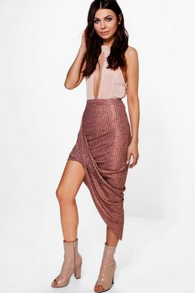 Aria Rose Gold Knitted Draped Midi Skirt