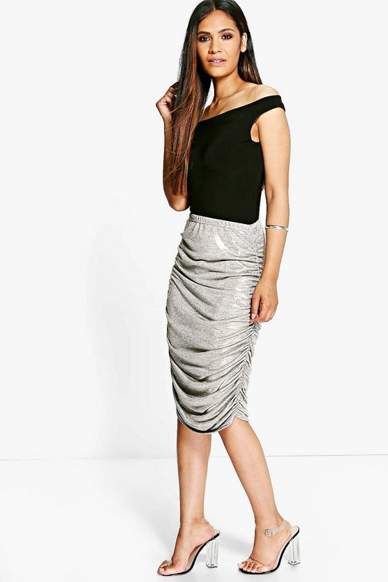 Beau Metallic Rouched Side Midi Skirt