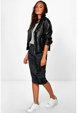 Rox Black On Black Marble Midi Skirt