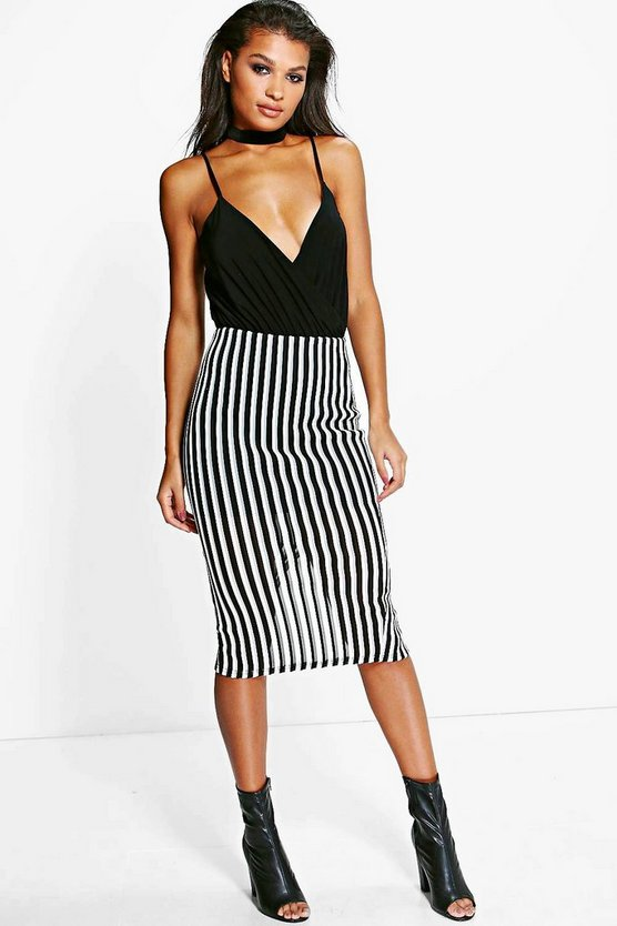 Orla Burn Out Monochrome Rib Midi Skirt