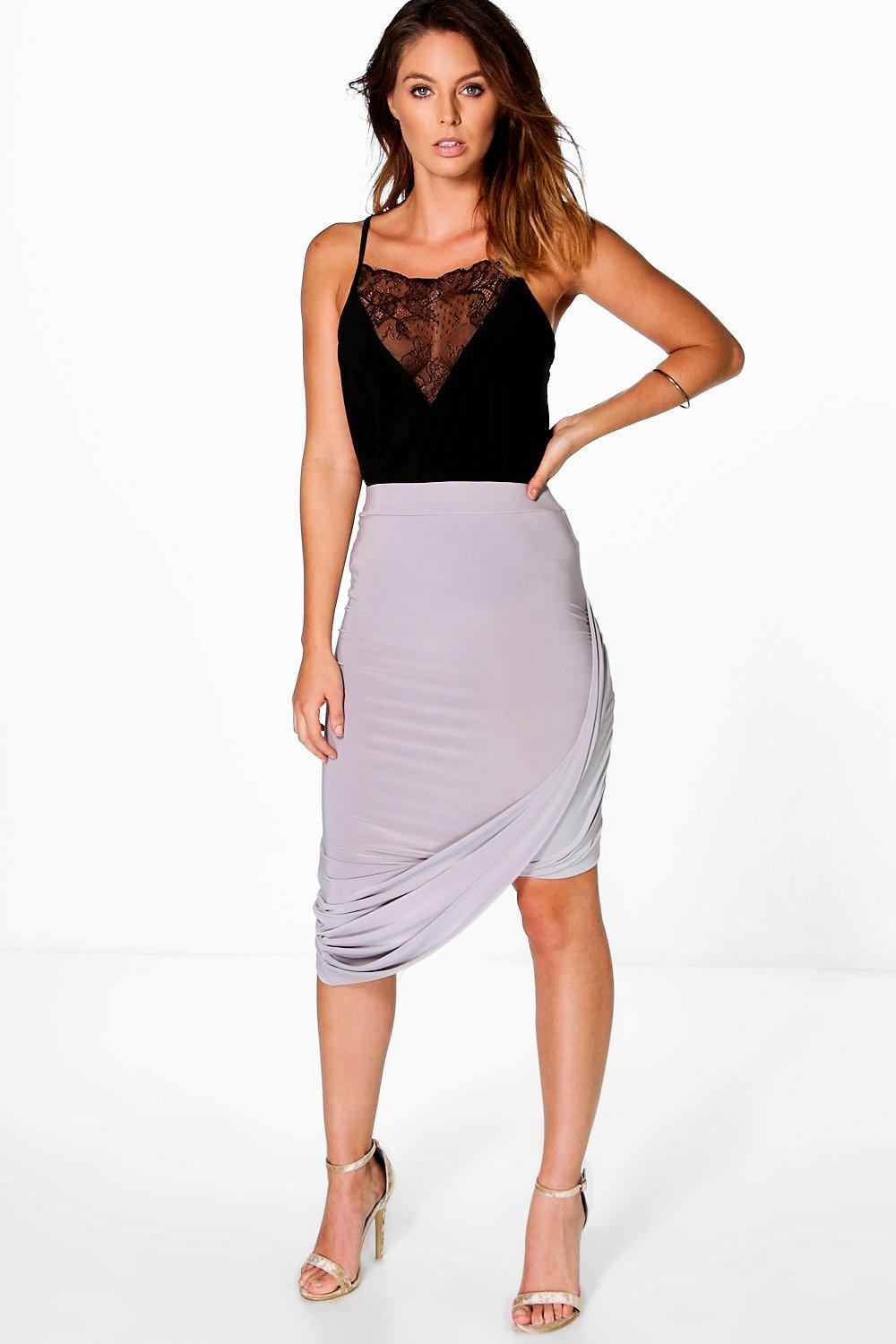 Lua Asymetric Draped Side Midi Skirt