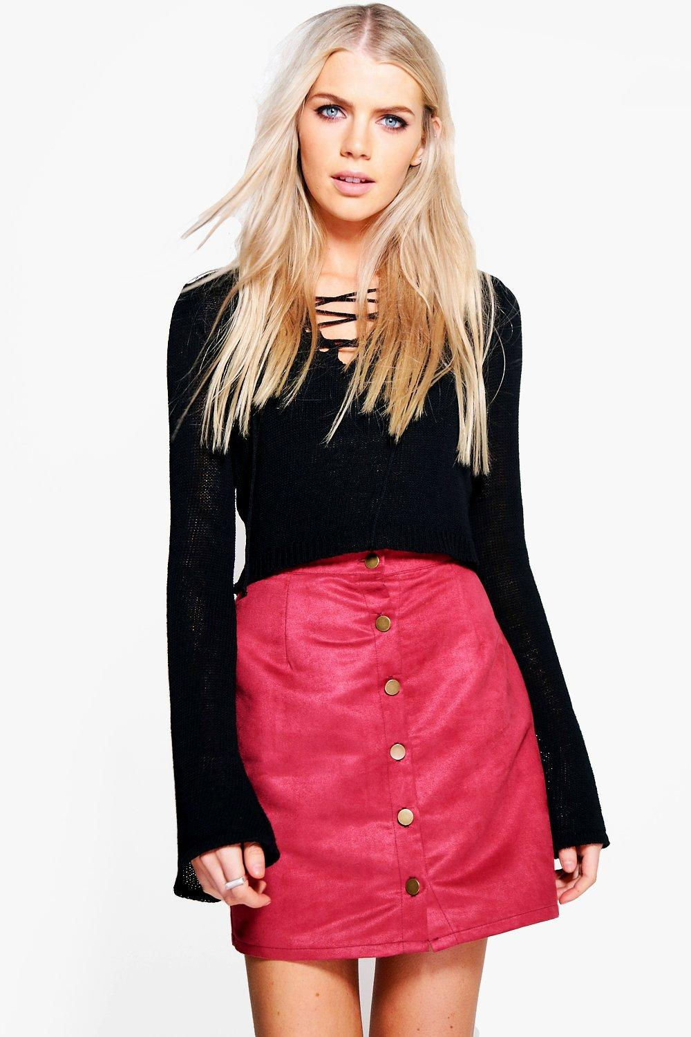 Marlin Button Front Woven Suedette Mini Skirt