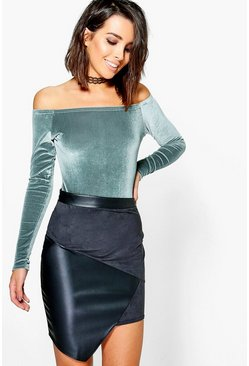 Aina Suedette And Leather Look Panel Mini Skirt