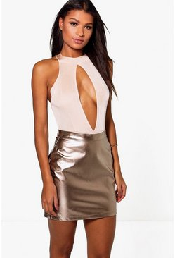 Gianna Metallic A Line Leather Look Mini
