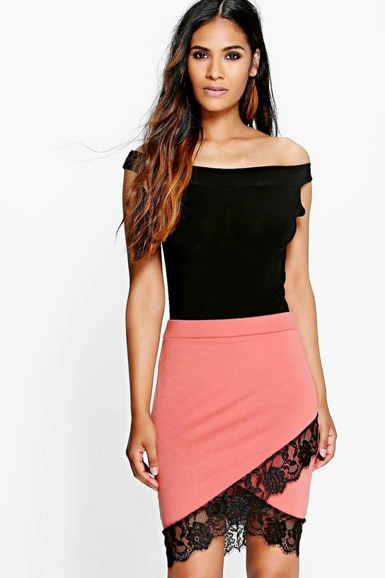 Tia Eyelash Lace Wrap Crepe Mini Skirt