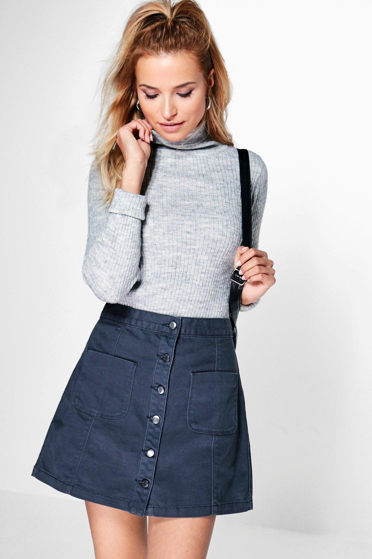 jinty button through pocket denim skirt boohoo