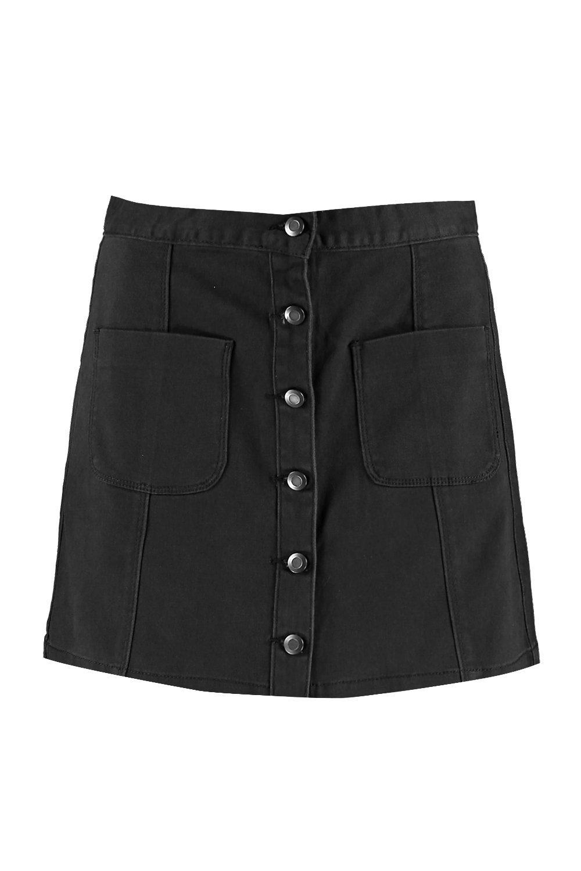 Jinty Button Through Denim Skirt at boohoo.com