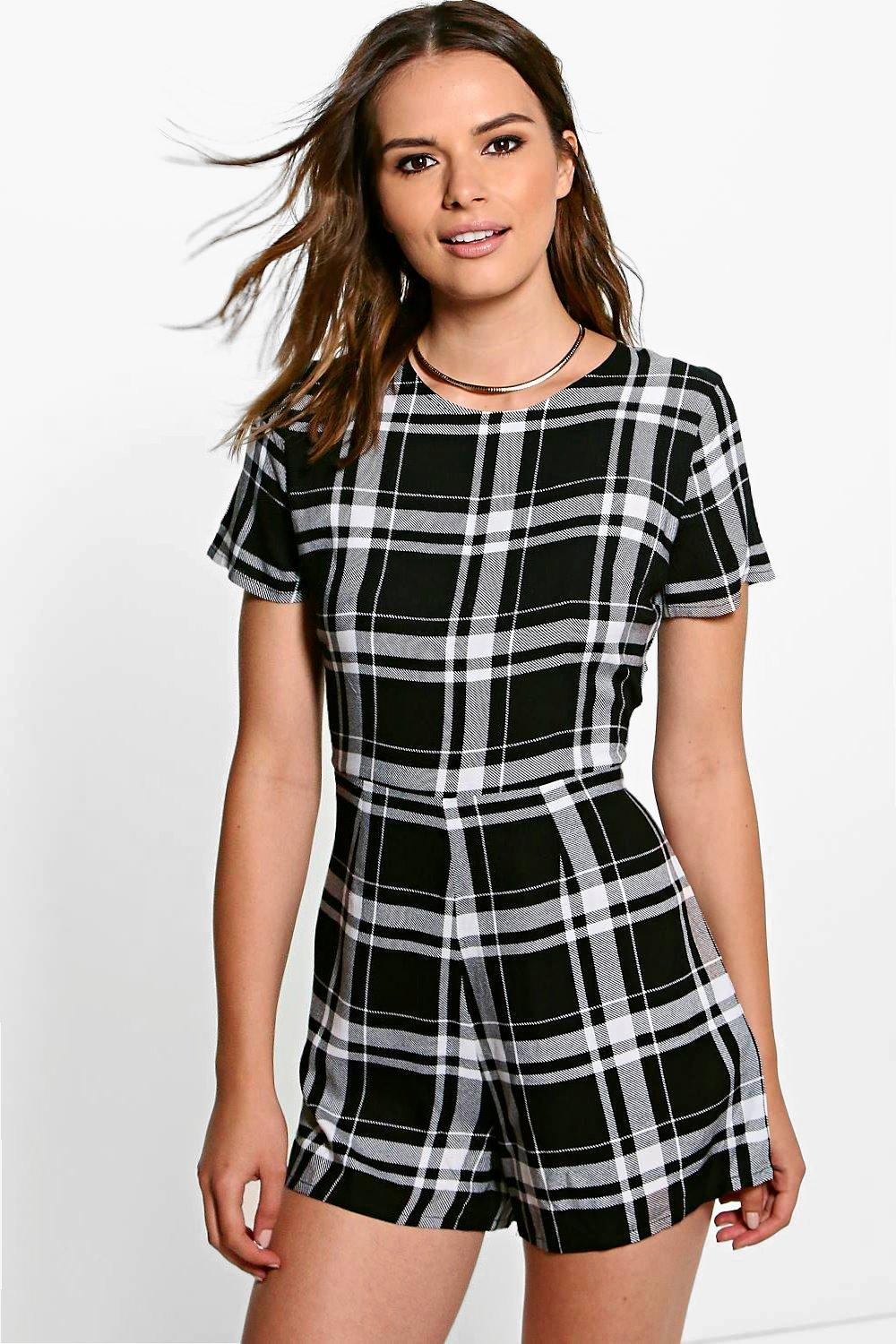 Jen Capped Sleeve Checked Playsuit