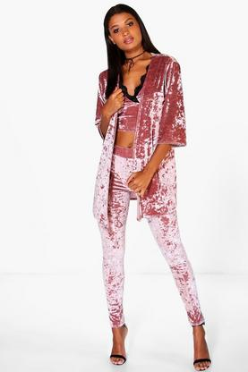 Sofie Velvet Collarless Duster