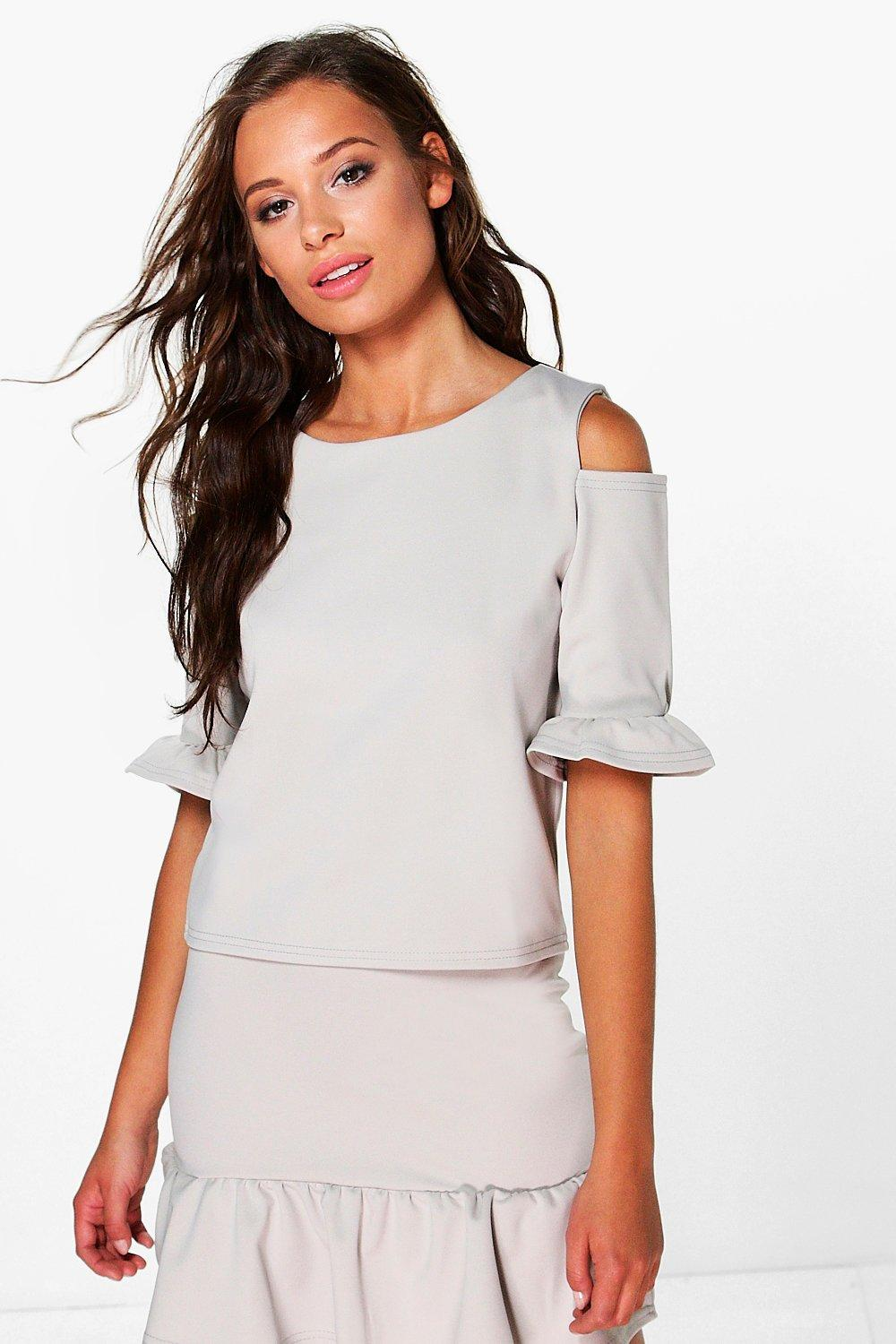 Willow Ruffle Cold Shoulder Top