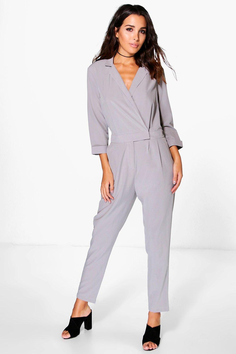 Bella Tailored Wrap Front Woven Jumpsuit