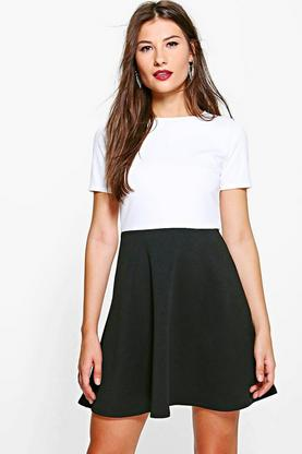 Niamh Tailored Colour Block Skater Dress