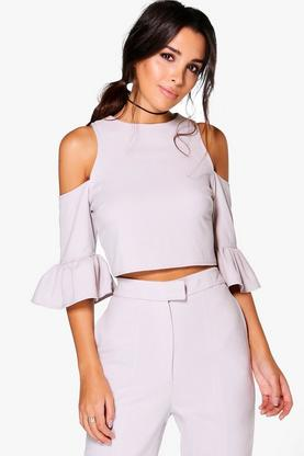 Sarah Ruffle Cold Shoulder Woven Top