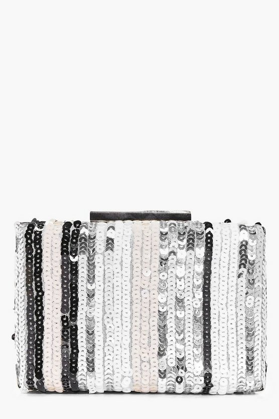 Erin Tonal Striped Sequin Box Clutch Bag