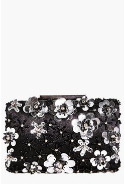 Eva Boutique 3D Floral Embellished Clutch Bag