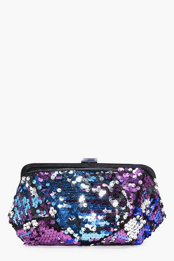 Maya Rainbow Two Way Sequin Box Clutch Bag