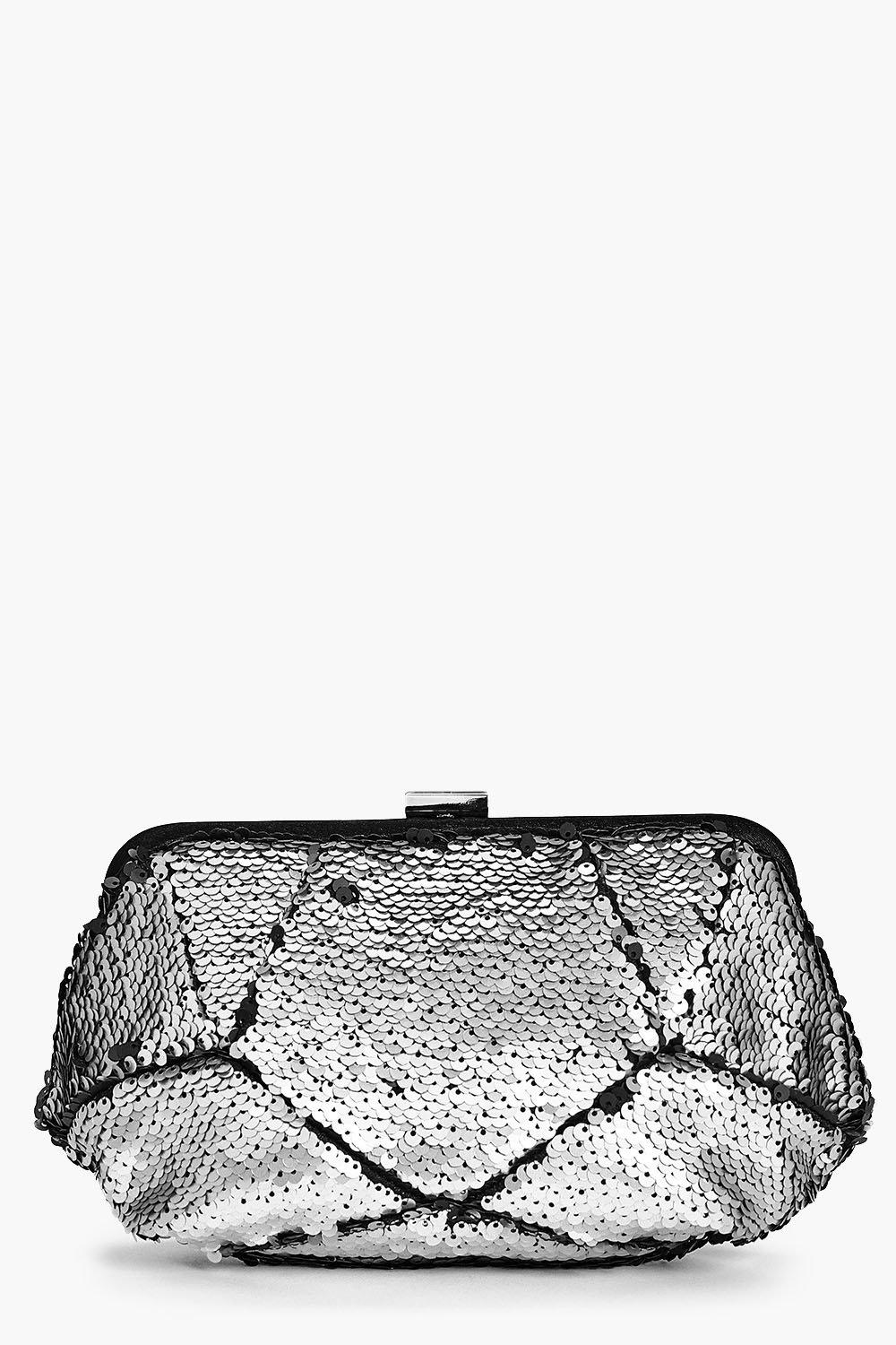 Amber Two Way Sequin Box Clutch Bag