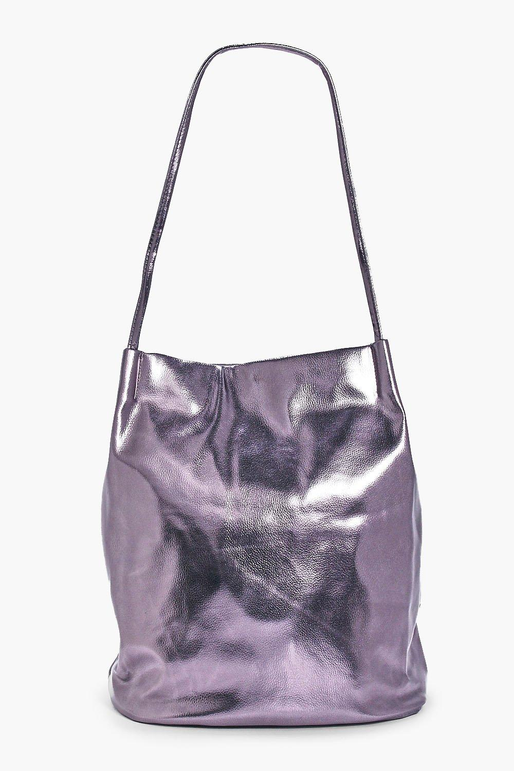 Metallic Corner Detail Shopper - pewter - Phoebe M