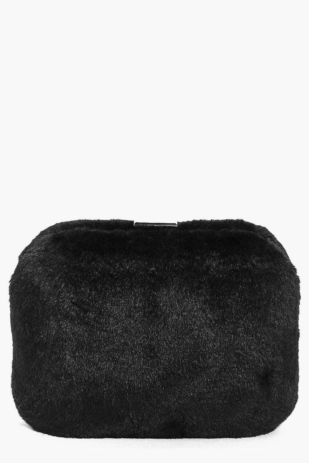 Faith Faux Fur Box Clutch Bag