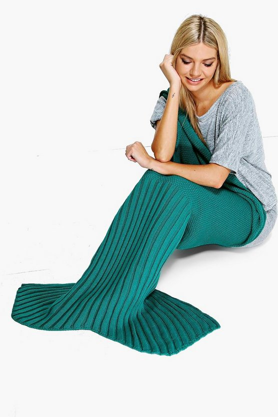 Aqua Knitted Mermaid Tail Blanket