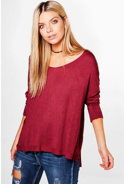 Phoebe Roll Sleeve V-Neck Jumper