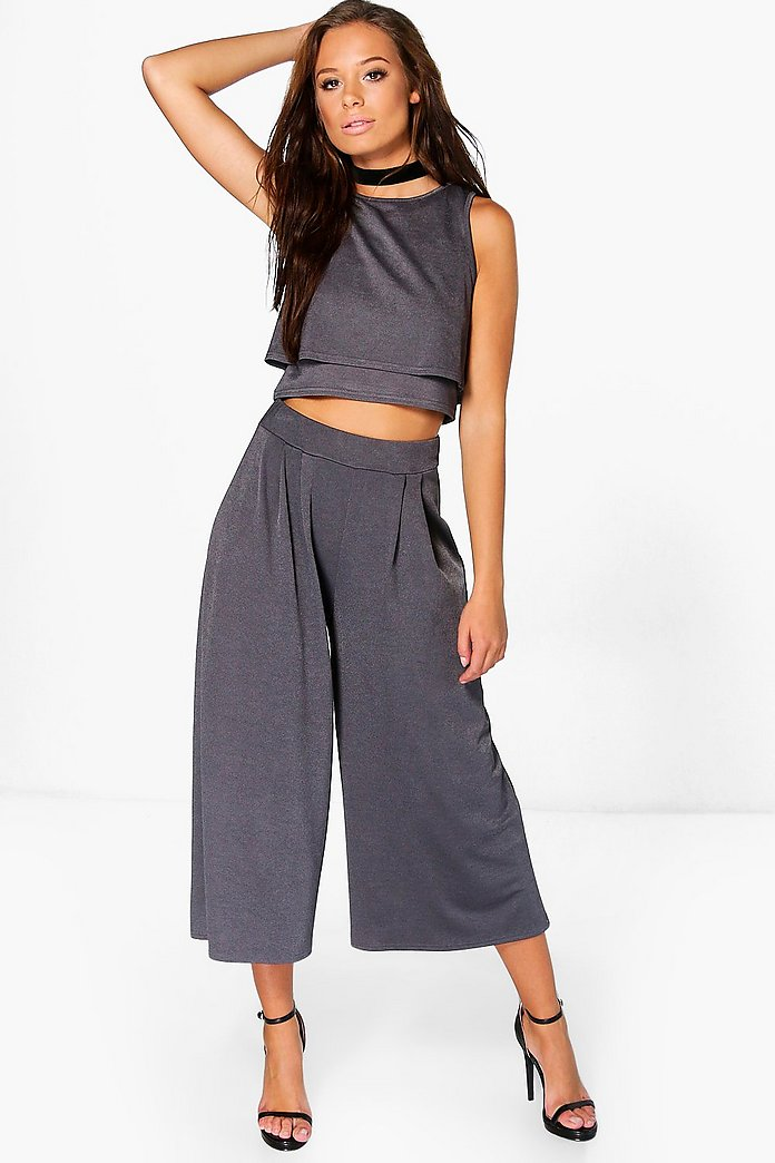 Sally Double Layer Crop And Culottes Co-Ord