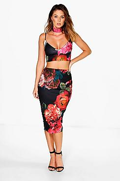 Daisy Floral Choker Bralet And Midi Skirt Co-ord