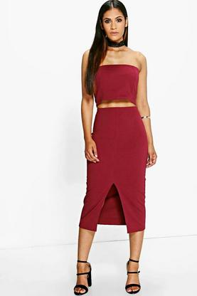 Amy Lace Choker Bandeau And Midi Skirt Co-Ord