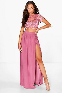 Keira Lace Crop Bralet And Maxi Skirt Co-ord
