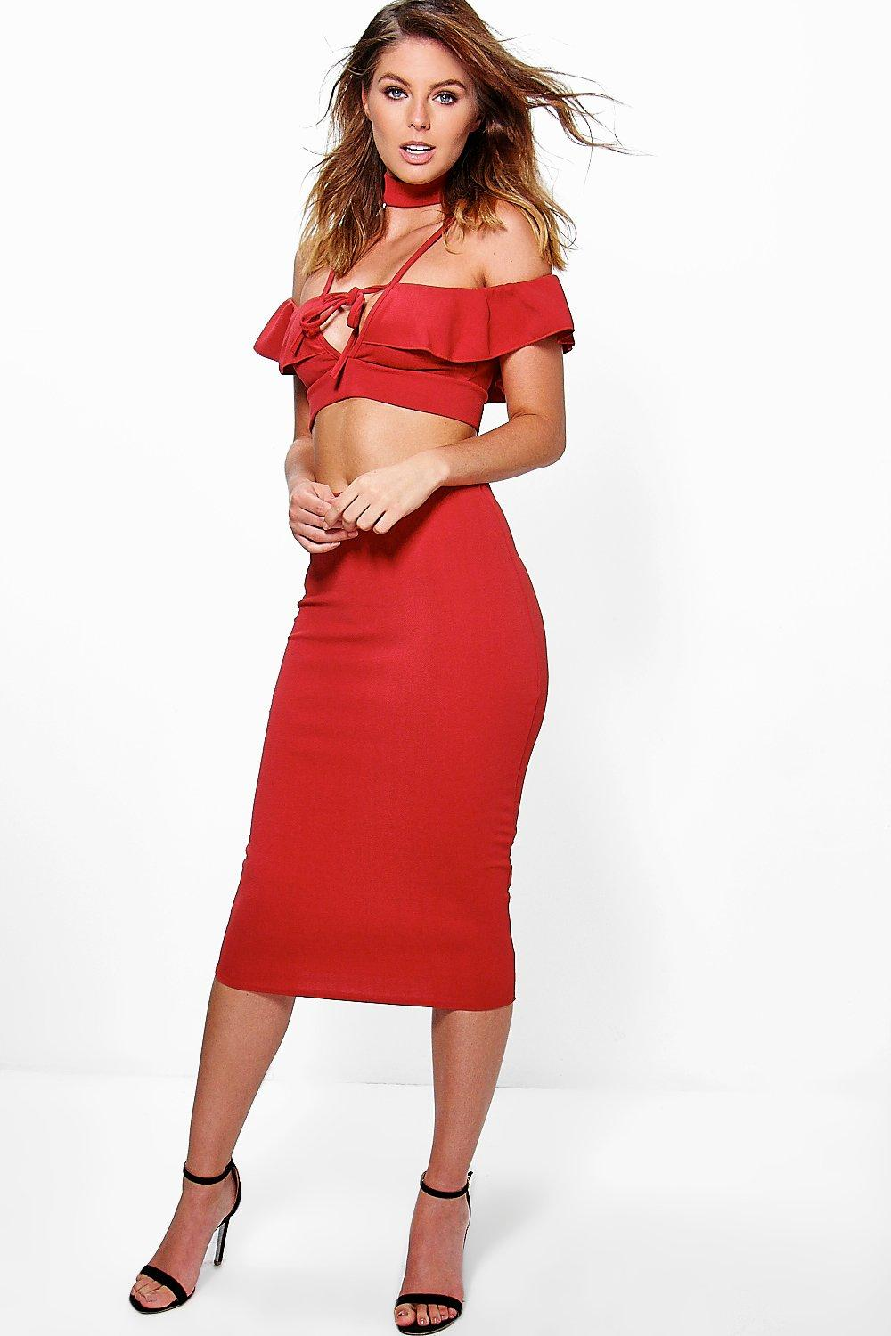 Freya Choker Drop Sleeve Frill Skirt Co-Ord