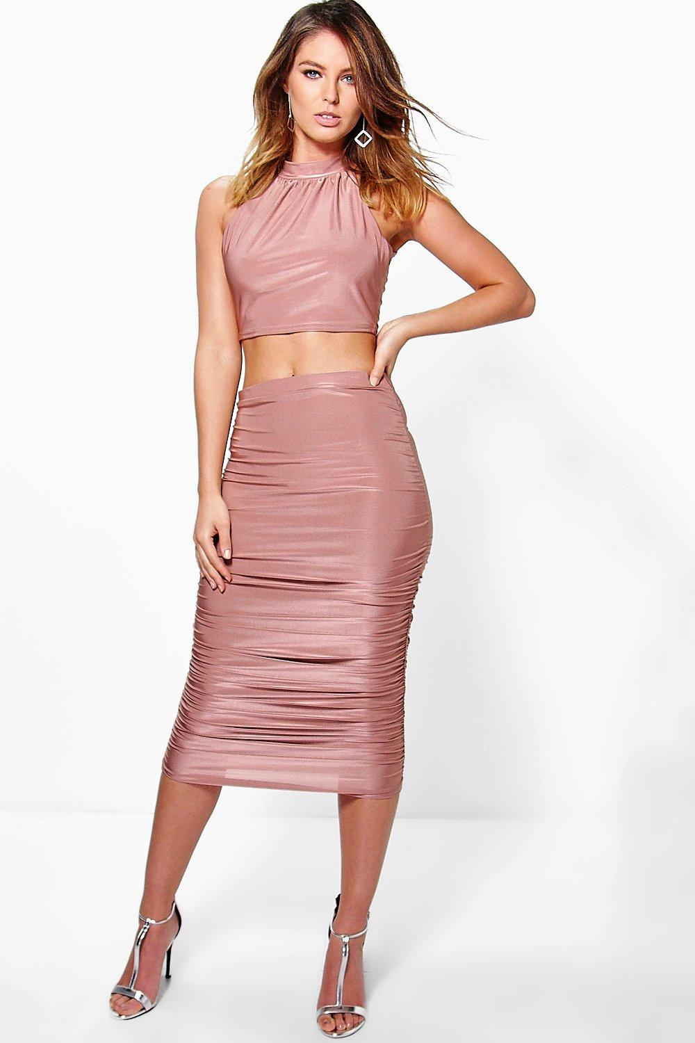 Tia Slinky Halterneck Crop And Midi Skirt Co-Ord