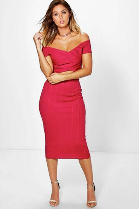 Rose Bandage Off The Shoulder Crop And Midi Skirt