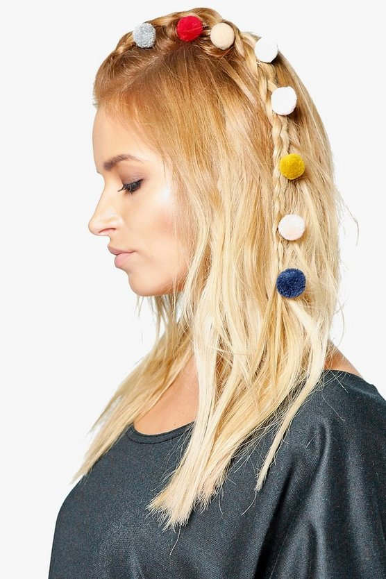 Maisy Multi Pom Hair Spirals 8 Pack