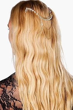 Esme Pearl Embellished Hair Pin and Chain