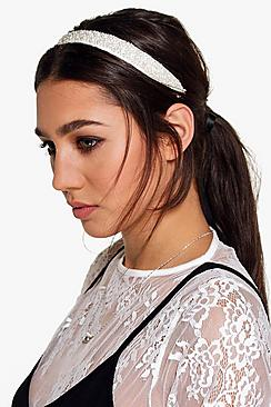 Libby Pearl Detail Ribbon Tie Headband