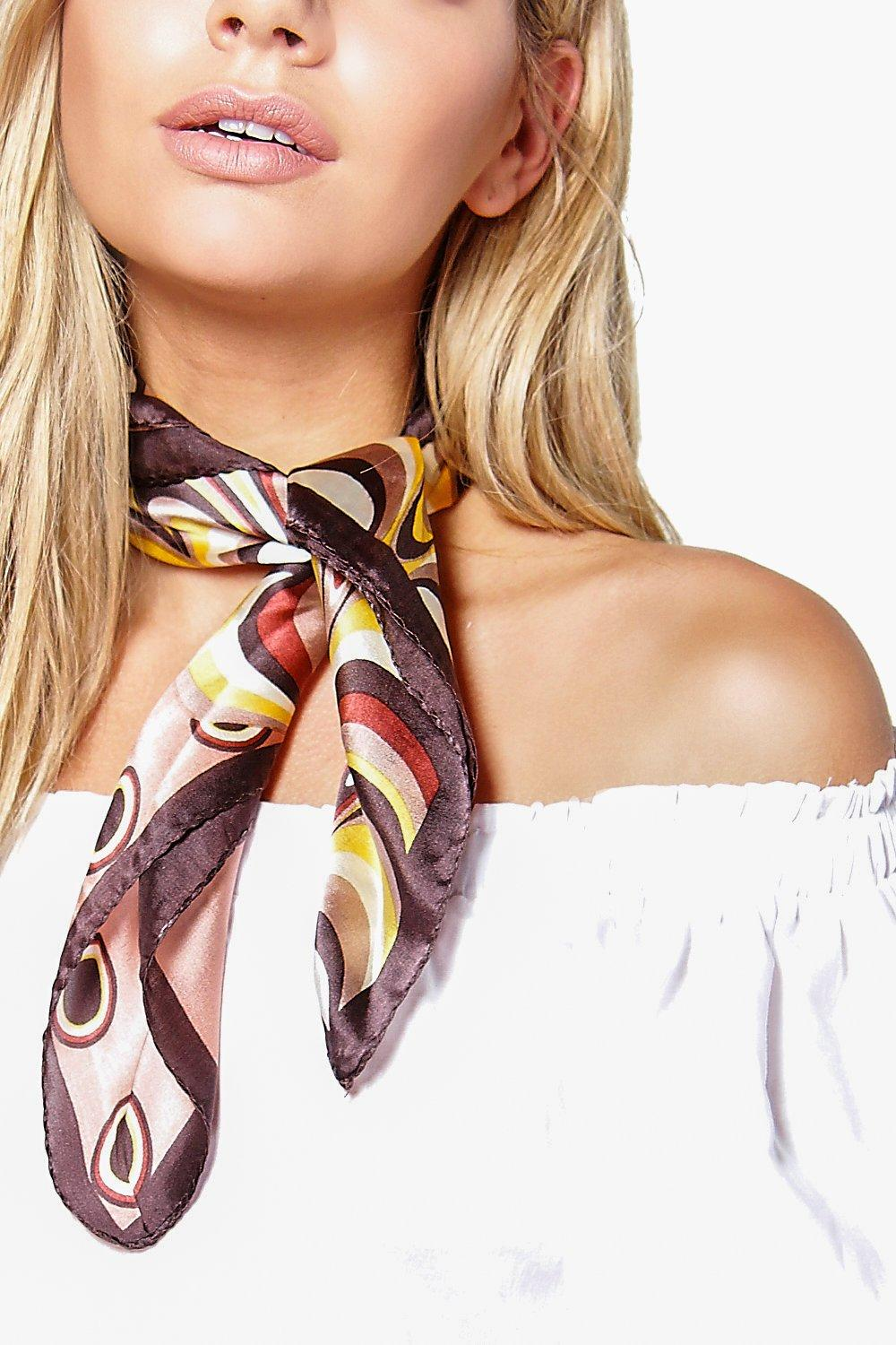 Kayla Patterened Satin 2 In 1 Head And Neckscarf