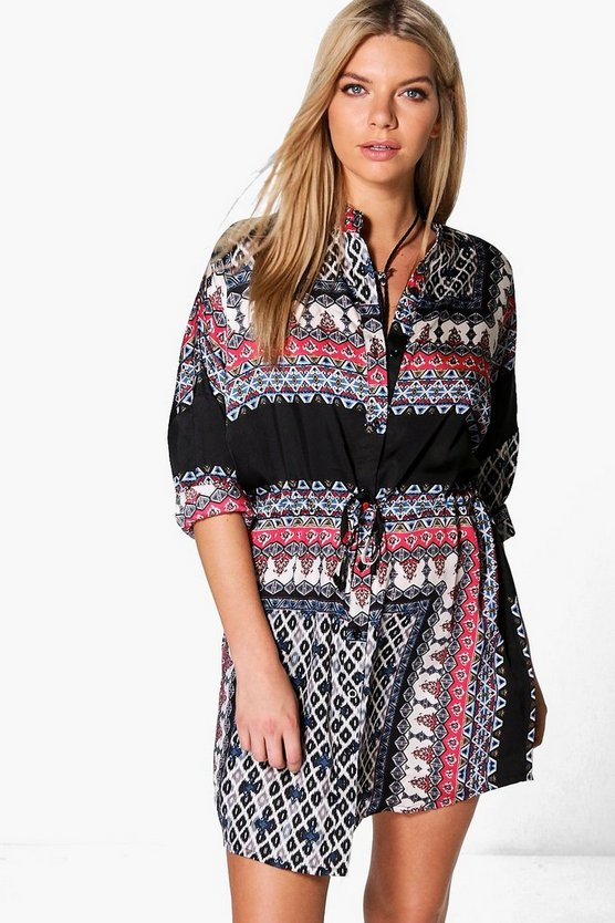 Emily Tile Print Tie Waist Shirt Dress