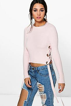 Scarlett Lace Up Eyelet Jumper