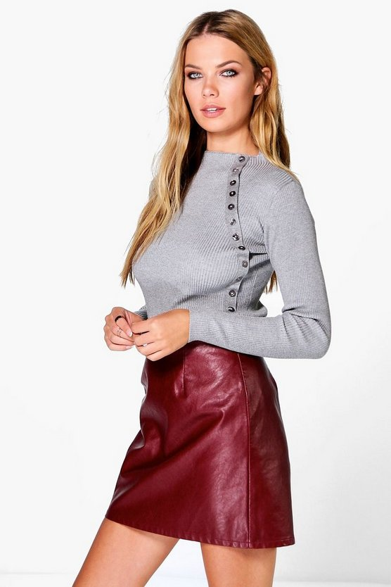 Lucy Buttons Rib Knit Funnel Neck Jumper