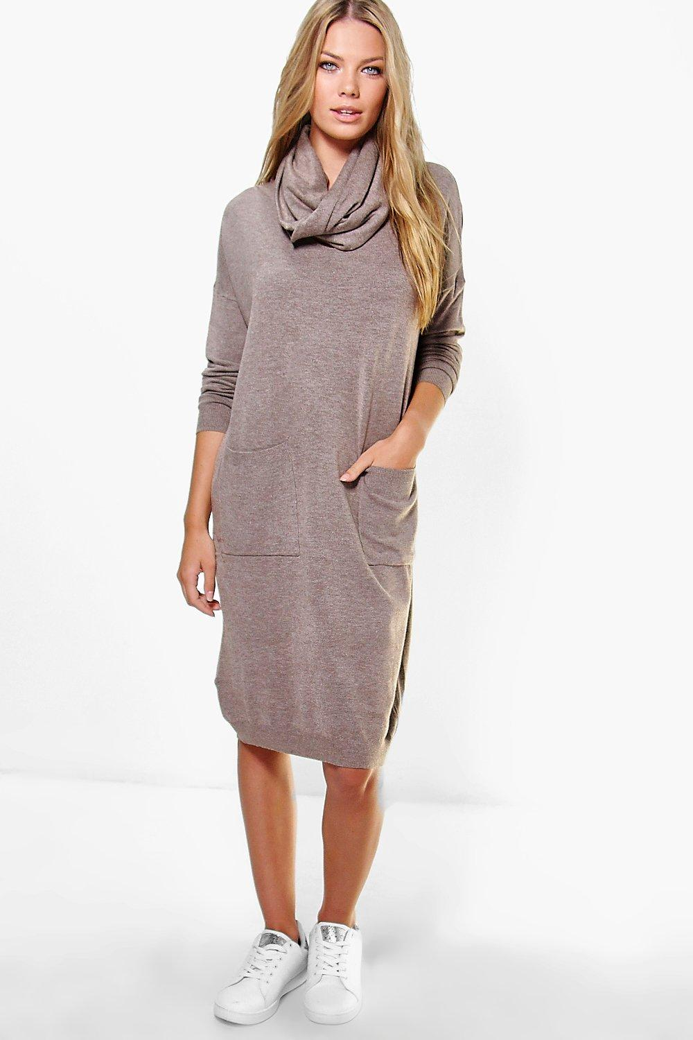 Isabelle Oversized Knitted Dress With Snood