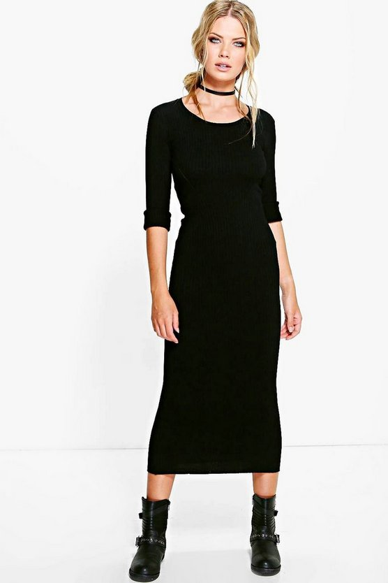 Ella Premium Rib Knit Midi Dress