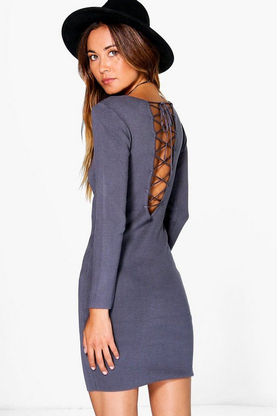 Isla Premium Lace Up Rib Knit Midi Dress