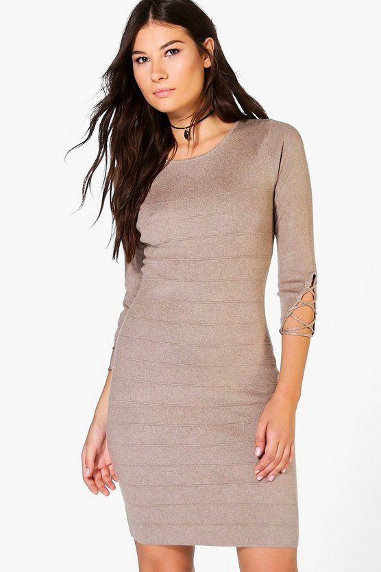 Ava Premium Lace Up Rib Knit Dress