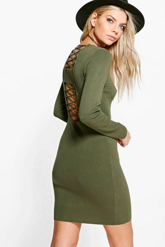Grace Premium Rib Knit Lace Up Dress